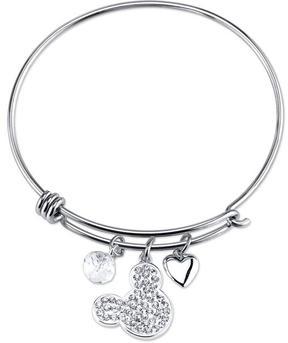 Disney Sterling Silver I Love Mickey Mouse Expandable Bangle Bracelet