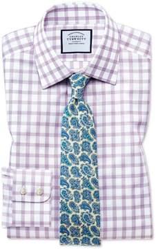 Charles Tyrwhitt Extra Slim Fit Windowpane Check Purple Cotton Dress Shirt Single Cuff Size 15/34