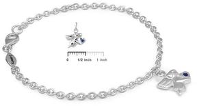 Ice Girls Silver September Birthstone Angel Charm Bracelet (5 1/2 or 6 1/2 In)