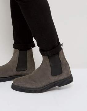 Asos Chelsea Boots In Gray Suede With Creeper Sole