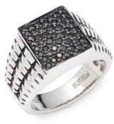 Effy Men's 925 Sterling Silver & Black Sapphire Ring