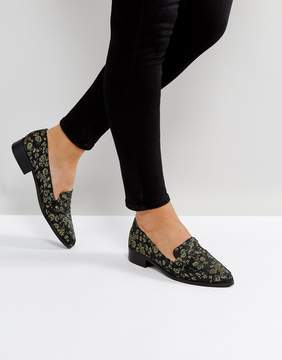 Glamorous Green Floral Jacquard Loafers