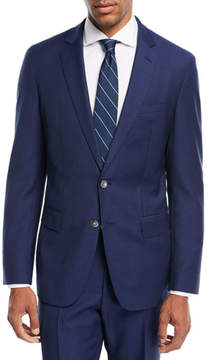 BOSS Helford Gander Broken Plaid Two-Piece Wool Suit, Blue
