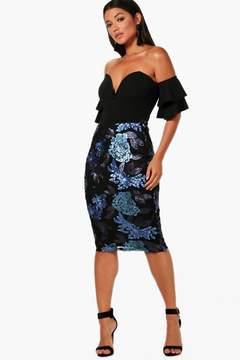 boohoo Sequin Floral Midi Skirt