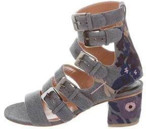Laurence Dacade Floral-Embroidered Buckle Sandals w/ Tags