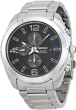 Seiko Solar Chronograph Black Dial Stainless Steel Men's Watch