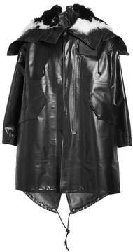 Calvin Klein Leather Parka with Sheepskin Collar
