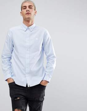 Pretty Green Logo Oxford Shirt in Blue