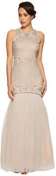 Adrianna Papell Beaded Trumpet Gown Women's Dress