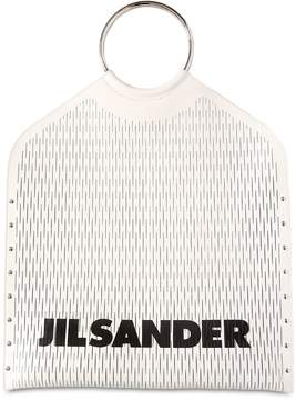 Jil Sander Logo Cut Leather Top Handle Bag