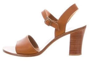 K Jacques St Tropez Leather Ankle-Strap Sandals