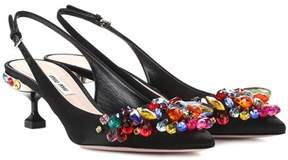 Miu Miu Embellished satin slingback pumps