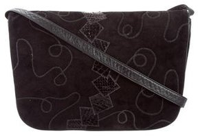 Carlos Falchi Snakeskin-Trimmed Messenger Bag