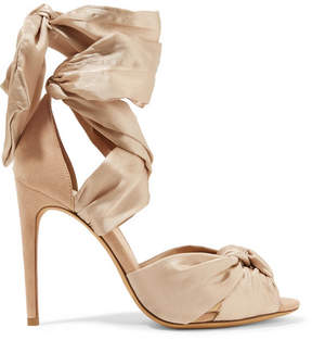 Alexandre Birman Katherine Lace-up Silk-satin And Suede Sandals - Taupe