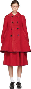 Comme des Garcons Red Double-Breasted Blanket Coat
