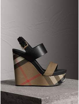 Burberry House Check Leather and Calf Suede Platform Wedges