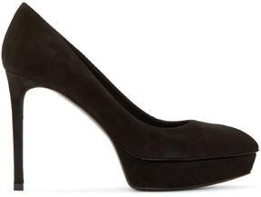 Saint Laurent Black Suede Janis Platform Pumps