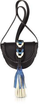 RED Valentino Black, Ivory, Agate Blue Leather Crossbody Bag w/Oversized Tassel