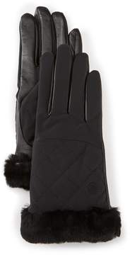 UGG Quilted Tech Gloves with Shearling Cuff & Faux-Fur Lining