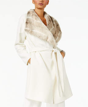 Alfani Belted Faux-Fur-Collar Coat, Created for Macy's