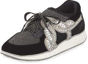 Sophia Webster Royalty Mixed Knit/Velvet Embellished Sneakers
