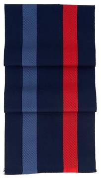 Aspinal of London University Stripe Merino Wool Scarf In Navy, Red, Blue