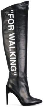 Off-White Women's Black Leather Boots.