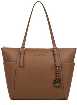 Michael Kors Luggage Leather Jet Set Travel Item Saffiano Leather Tote - BROWN - STYLE