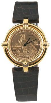 Corum 18K Yellow Gold $5 Half Eagle Quartz Coin Rotating Bezel Watch