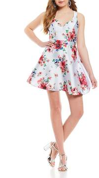 B. Darlin Floral-Printed Satin Fit-And-Flare Dress