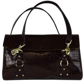 Ralph Lauren Ralph Brown Croc Embossed Leather Shoulder Bag