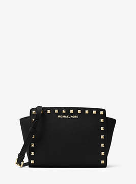 Michael Kors Selma Medium Studded Leather Messenger - BLACK - STYLE