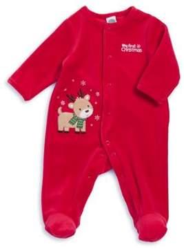 Little Me Baby Girl's My First Christmas Reindeer Footie