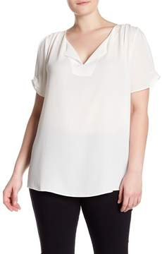 Daniel Rainn DR2 by Short Sleeve Split Neck Blouse (Plus Size)