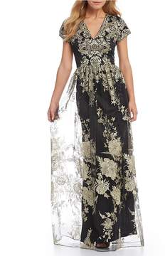 David Meister Short Sleeve Embroidered Ball Gown