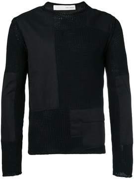 Isabel Benenato poplin-panelled sweater