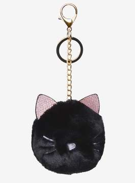 Dorothy Perkins Black Fluffy Cat Pompom with Keychain