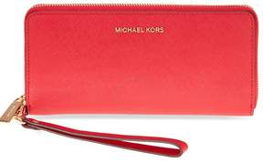 Michael Kors Jet Set Tavel Leather Continental Wallet - Bright Red - ONE COLOR - STYLE