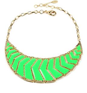 Amrita Singh Neon Green & Goldtone POP! Bib Necklace