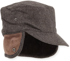 Neiman Marcus Herringbone Wool Newsboy Hat with Fur Trim