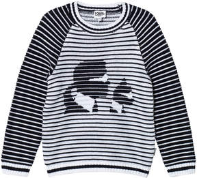 Karl Lagerfeld Black and White Stripe and Choupette Knit Jumper