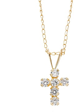 Swarovski Charming Girl 14k Gold Cross Pendant Necklace - Made with Cubic Zirconia - Kids