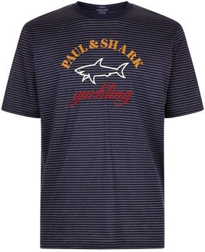 Paul & Shark Stripe Print Shark Logo Motif T-Shirt
