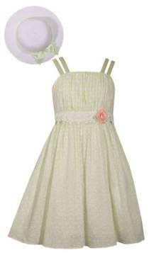 Iris & Ivy Little Girl's Two-Piece Lace-Trimmed Dress and Hat Set