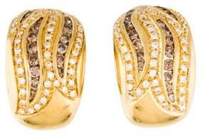 Damiani Brown & White Diamond Huggie Earrings