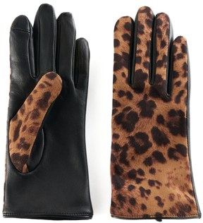Apt. 9 Women's Leopard Print Leather Tech Gloves
