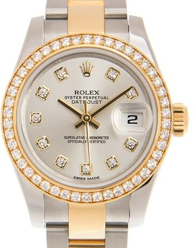 Rolex Lady Datejust Silver Diamond Dial Steel and 18K Yellow Gold Automatic Watch