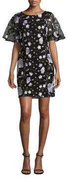 Isaac Mizrahi IMNYC Bateau Neckline Flutter-Sleeve Shift Dress