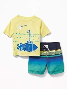 Old Navy Graphic Rashguard & Swim Trunks Set for Baby