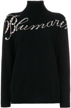 Blumarine embellished slogan turtleneck sweater